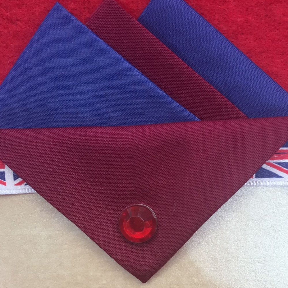 Dark Blue and Burgundy Hankie With Burgundy Flap and Pin